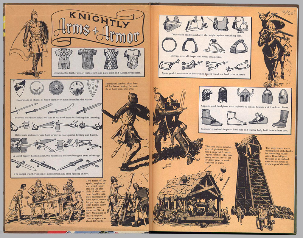 Knightly Arms + Armor,pages de gardes illustrées,  And The Golden Princess, Prince Valiant, tome 5, sur www.wanted-rare-books.com/foster.htm -  Librairie on-line Marseille, http://www.wanted-rare-books.com/