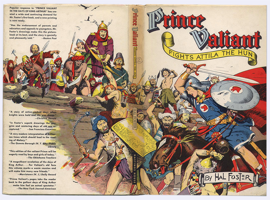 Fights Attila The Hun Prince Valiant, tome 2,  jaquette illustrée recto verso par Harold Foster sur www.wanted-rare-books.com/foster.htm -  Librairie on-line Marseille, http://www.wanted-rare-books.com/