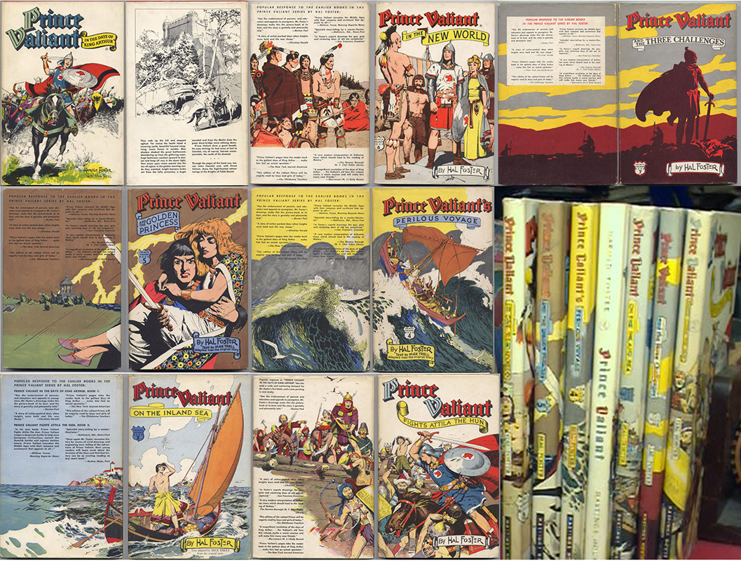Prince Valiant, les 7 tomes , illustrés par Harold Foster, Hastings House Publishers, New-York, sur www.wanted-rare-books.com/foster.htm -  Librairie on-line Marseille, http://www.wanted-rare-books.com/
