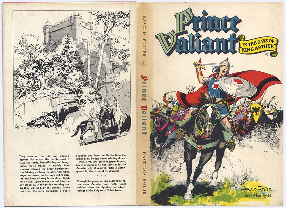 Jaquette recto verso de In the days of King Arthur, illustré par Harold Foster, le tome 1 de Prince Valiant sur www.wanted-rare-books.com/foster.htm -  Librairie on-line Marseille, http://www.wanted-rare-books.com/