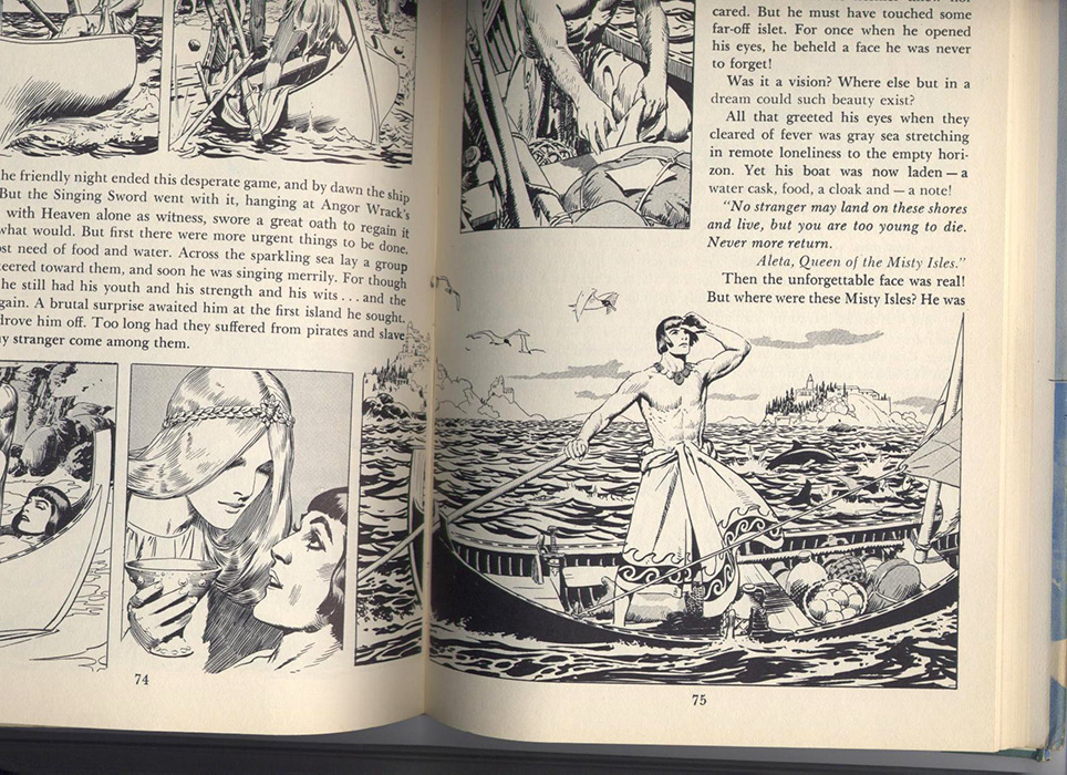 illustrations in-text de Hal Foster, On The Island Sea, Prince Valiant, tome 3, sur www.wanted-rare-books.com/foster.htm -  Librairie on-line Marseille, http://www.wanted-rare-books.com/