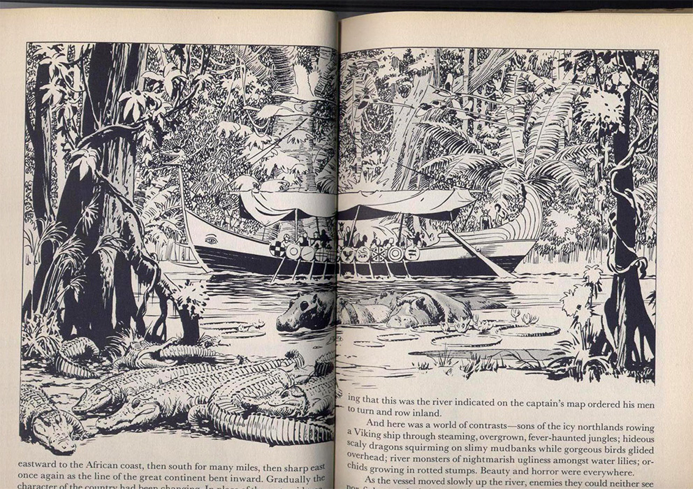 illustrations in-text de Hal Foster, Perilous Voyage, Prince Valiant, tome 4, sur www.wanted-rare-books.com/foster.htm -  Librairie on-line Marseille, http://www.wanted-rare-books.com/