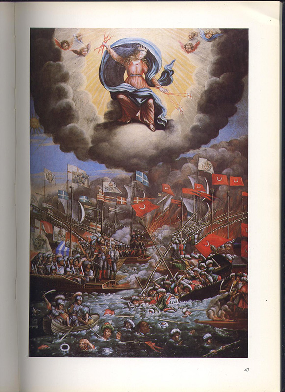 catalogue: L'orient des provençaux dans l'histoire, peinture : la vierge défendant les marins marseillais, sur www.wanted-rare-books.com/l-orient-des-provencaux-catalogue-archives-departementales-ville-marseille-chambre-commerce-industrie.htm